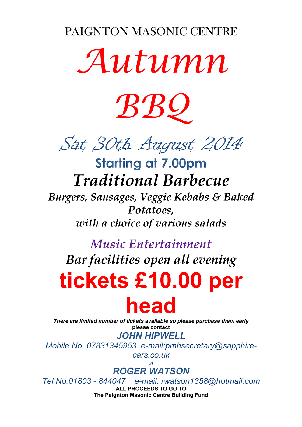 Paignton Masonic Centre Autumn BBQ Sat 30th August 2014 7pm